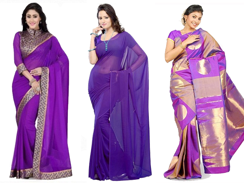 violet saree designs with pictures