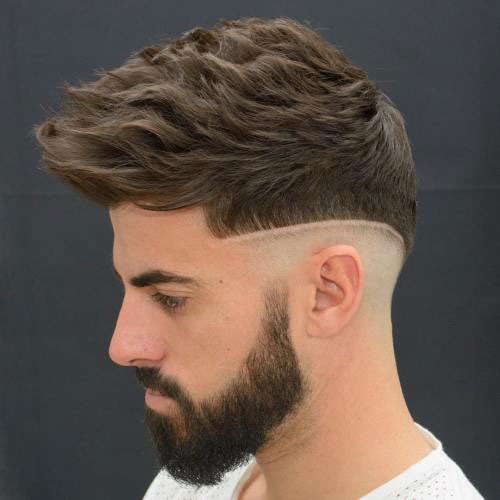 Wavy Hair with Mid Shaved Sides and Full Beard