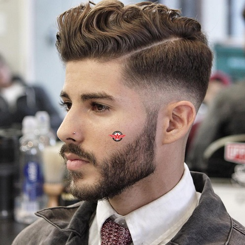 Wavy Side Part Hipster Hairstyle for Men