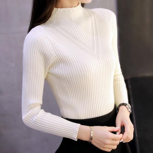 Women Full Sleeved White Sweaters