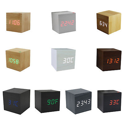 Wood Cube LED Display Desk Clocks