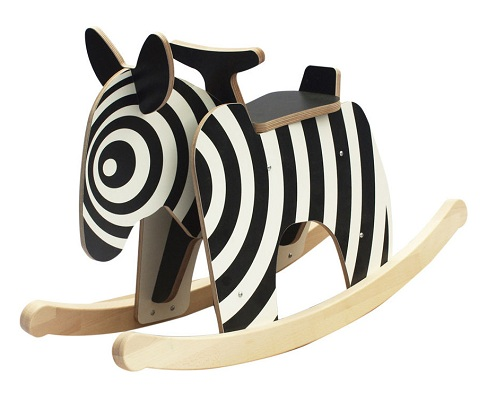 Wooden Zebra Rocking Horse