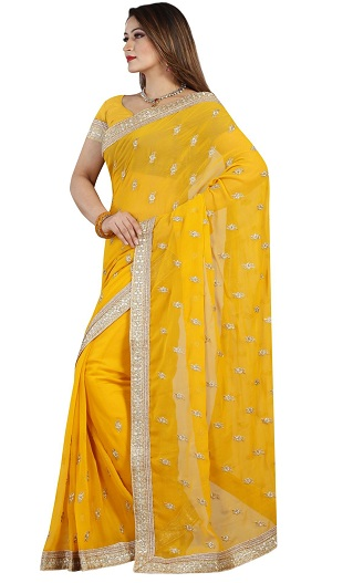 1986f3a10a60b This bright yellow colored chiffon saree is a show stopper. The dainty and  beautiful saree comes with a Gold Embroidery and a golden color border.