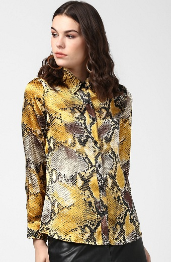 Yellow And Grey Printed Shirt For Party