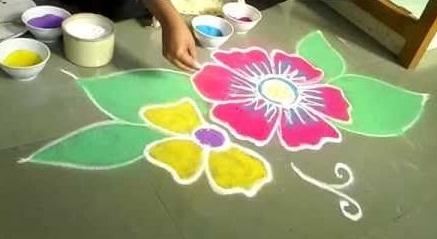 Free Hand Flower Rangoli Design