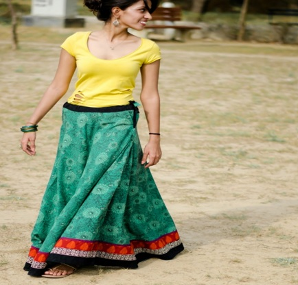 1fc284dffc This Indian style maxi skirt can make you feel comfortable and chic at the  same time. It comes in a Tie-up model can make you look like a model on the  ...