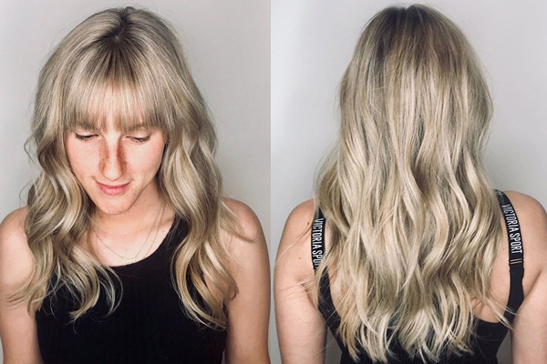 Voluminous Blonde Bangs