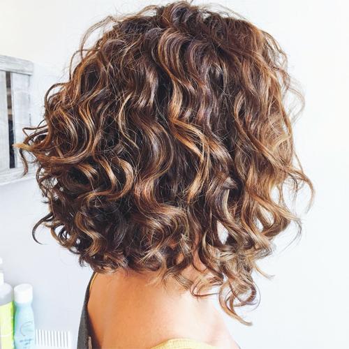 Curly/Wavy Angled Bob Cut