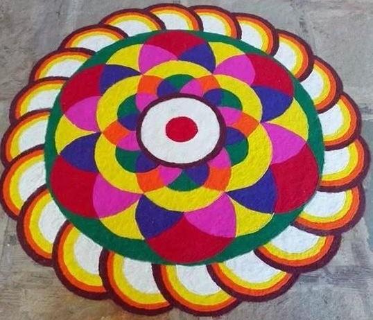 Colorful 3D Rangoli Design