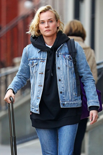 9f921e99311362 Can you beat Diane Kruger's style in this picture? The actress was spotted  at the airport in a pair of denims, hooded shirt and a denim jacket.