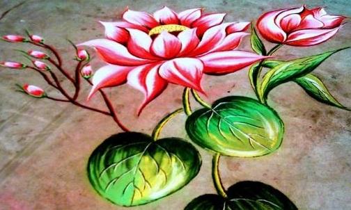 Flower 3D Rangoli Design
