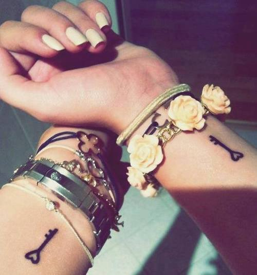 Friendship Key Tattoo Designs