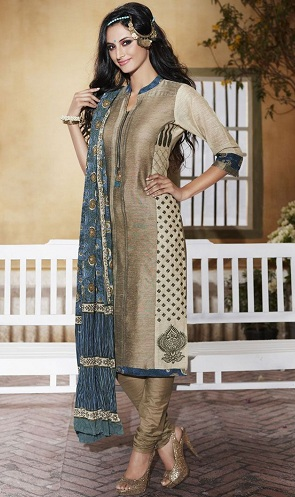 677fdd999c This readymade straight cut salwar kameez is designed to perfection. The  tan-brown kurti is complemented well with the blue dupatta.