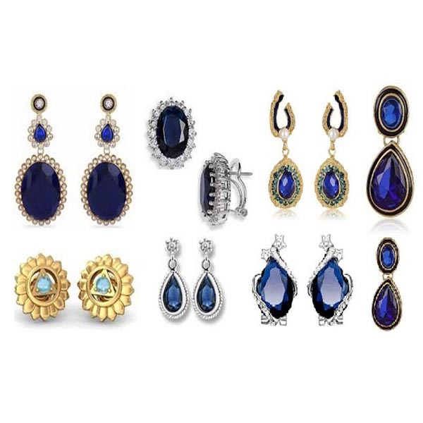 Royal and Navy Blue Colour Stone Earrings