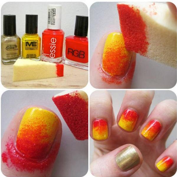 Sponge Nail Art Designs