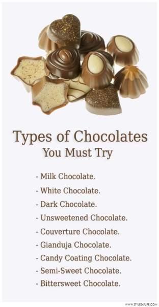 types of chocolates