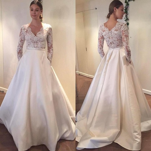 00d26f4ddde Try out a trendy engagement dress with A-line design. This dress has a lace  bodice and satin skirt. The skirt has pockets on both ends and this is the  ...
