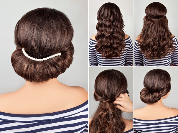 Greek Style Hairdo with String of Pearls