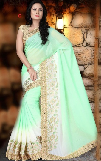 37dd4fc374b This soothing green colored party wear saree is perfect for day events. It  is pleasant saree that comes with subtle embroidery on the border and a  nice ...