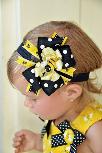 honey bee hair style 15 different hair bow designs for and baby 5408 | Yellow and Black Honey Bee Ribbon Hair Bow