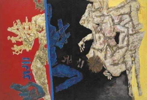 mf hussains Battle of Ganga and Jamuna painting