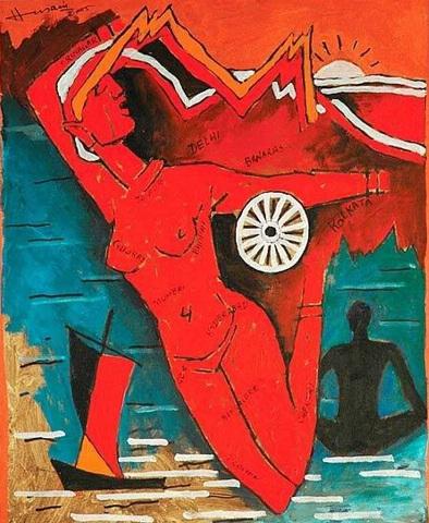 mf hussain Bharat Mata Painting