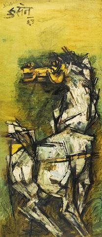 mf-hussain Horse Painting