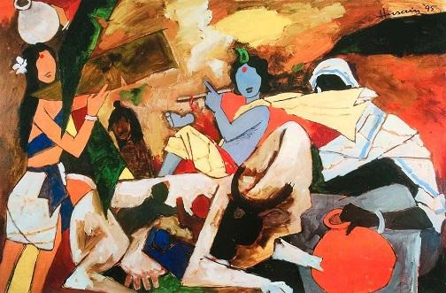 mf hussain Krishna Painting