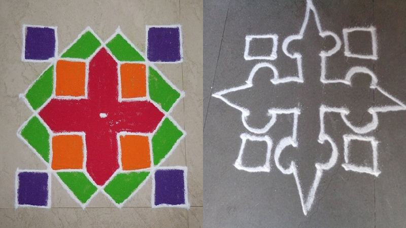 Simple And Creative Pulli Kolam Rangoli Designs With 6 Dots