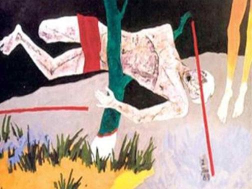 mf hussain Tribute to Hashmi painting