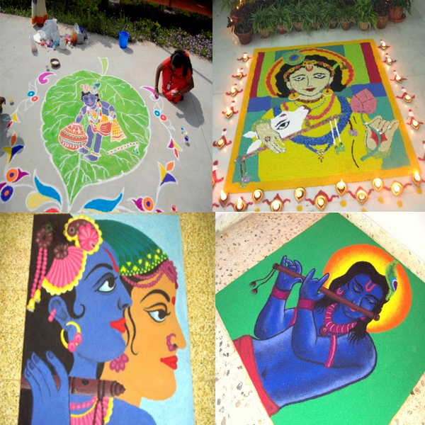 Charming Lord Krishna Rangoli Designs and Patterns for 2018