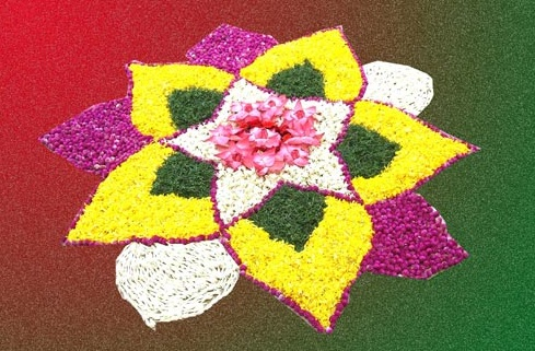 20 Best Floral Rangoli Designs By Using Flowers Chalk Flour