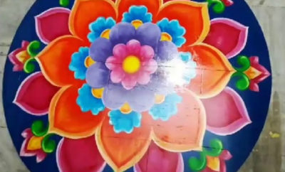 Oil Paint Rangoli Designs