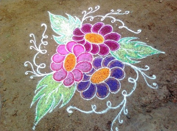rangoli designs of flowers with free hand