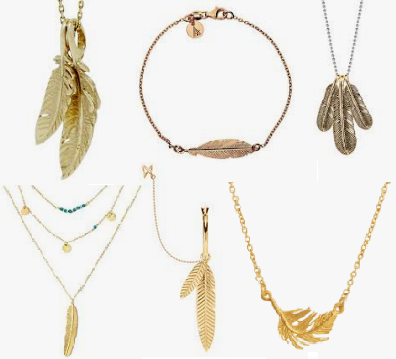 Gold Jewelry Feathered Chains