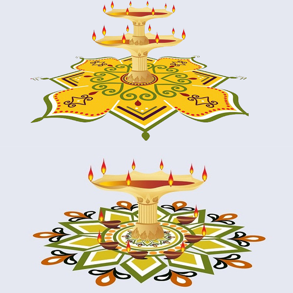 Luminous Diwali Rangoli Designs with Lamps and Colours