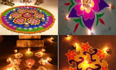 Perfect Pooja Room Rangoli Designs with Flowers & Rice Flour