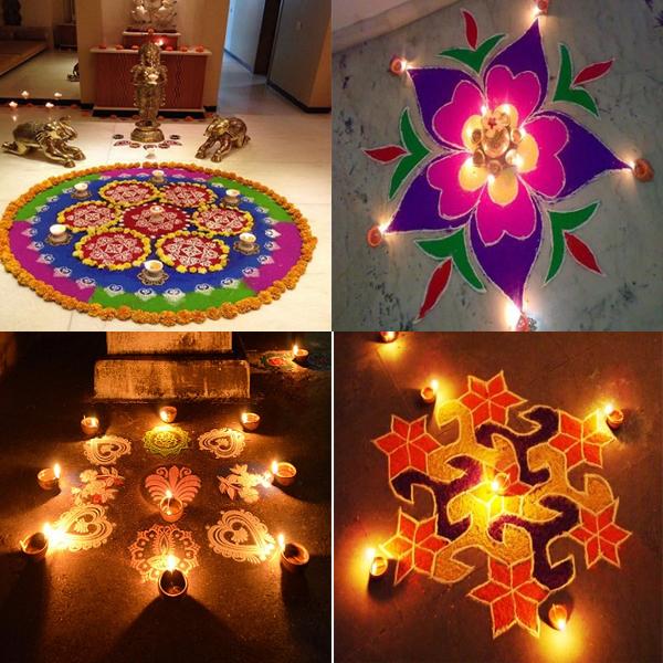 Perfect Pooja Room Rangoli Designs with Flowers & Rice Flour