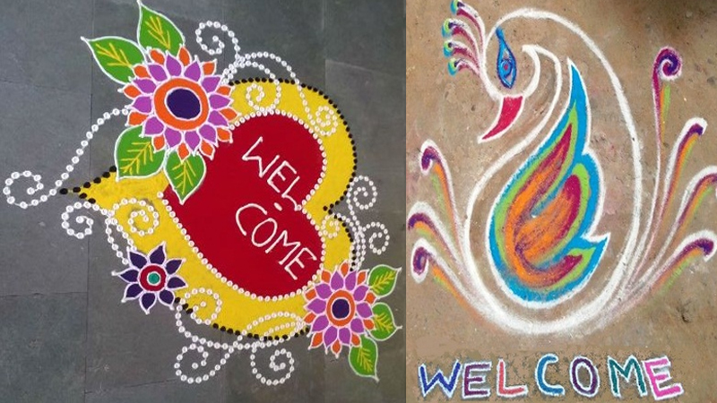 Perfect Welcome Rangoli Designs for Special Wishing