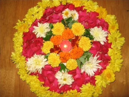 photos of rangoli designs with flowers