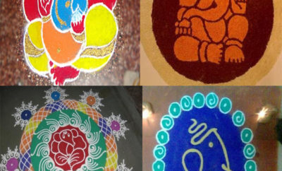 Special Lord Ganpathi Picture Rangoli Designs for Ganesh Chaturthi