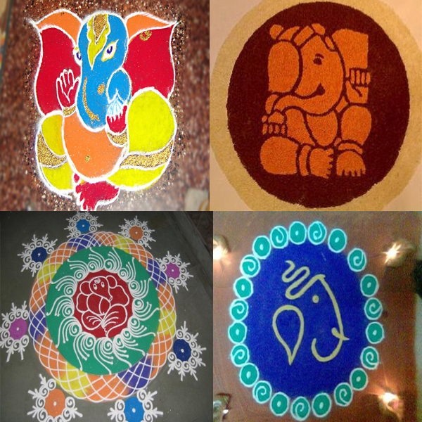 Special Lord Ganpathi Picture Rangoli Designs for Ganesh Chaturthi