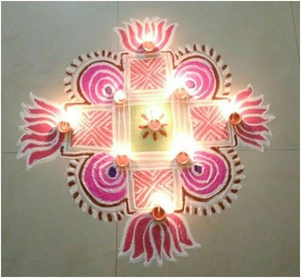 Lotus Kolam for Diwali