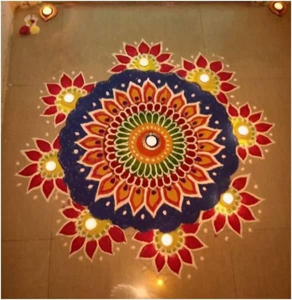 Flower Kolam for Diwali