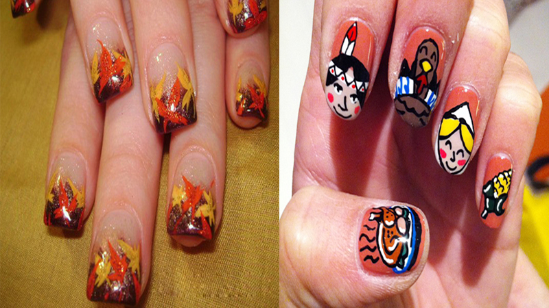 Easy Thanksgiving Nail Art Designs with Images