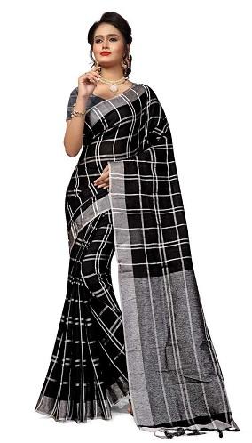 Linen Check Sarees
