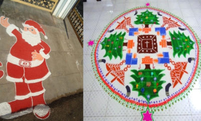 Different Happy Christmas Rangoli Design Ideas for 2018