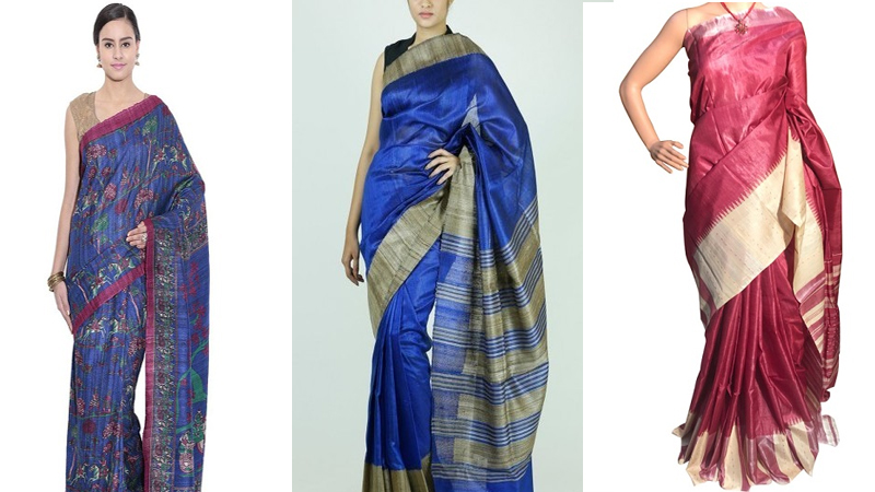 Modern Designs of Tussar Silk Sarees To Look Elegant