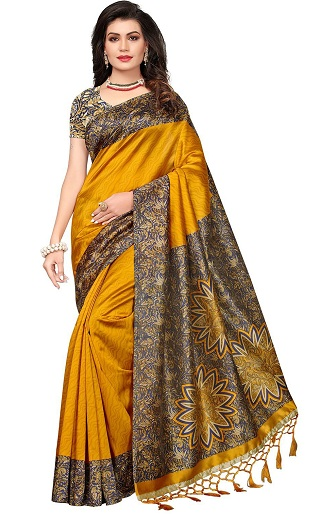 3bc9d8280767e8 Want to try wearing an economically priced saree? Check out this Mustard  yellow and black Art Silk saree! Made with art silk or Artificial silk, ...