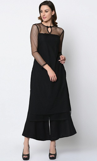 Details about  /Black Kurti Women Short Sleeves Round Neck Traditional Clothing Partywear